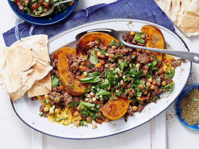 lamb and chickpeas with pumpkin hummus in a platter Crispy Lebanese lamb and chickpeas with pumpkin hummus recipe
