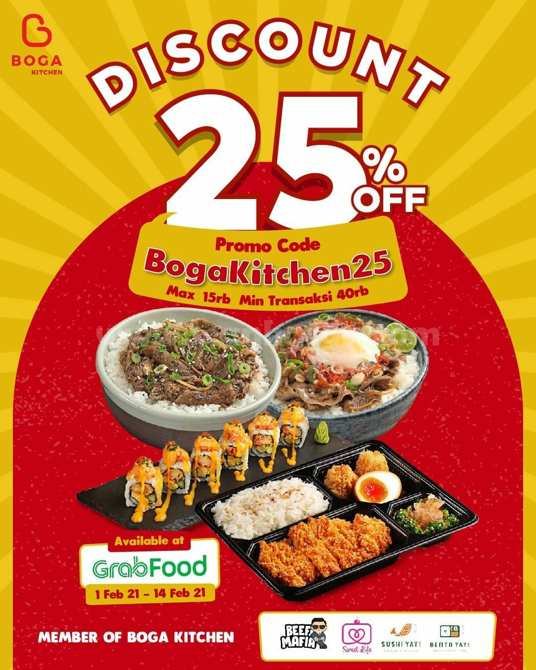 BOGA KITCHEN Promo Delivery Hemat GRABFOOD! DISKON 25% ALL ITEMS