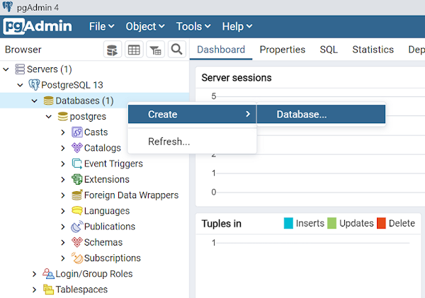 create database PostgreSQL pgAdmin