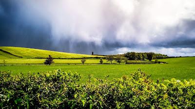 Wallpaper Landscape, rain clouds, field, hills, trees