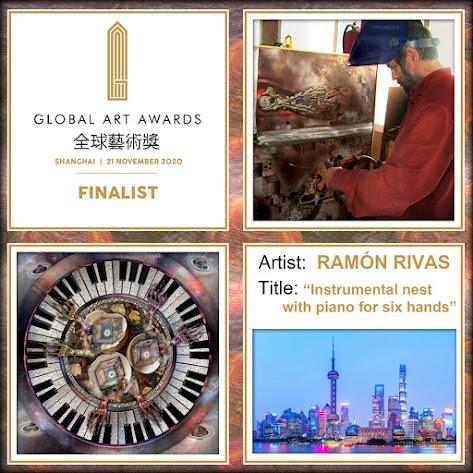 """The Global Art Awards, Ramón Rivas, su obra """"Nido instrumental con piano para seis manos"""" y una vista de Shanghái"""