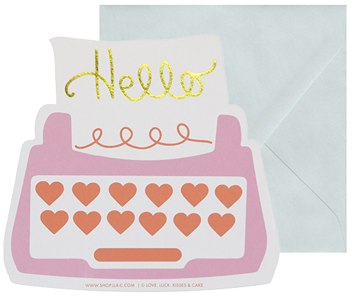 Hello Typewriter Card - Pink from The Love. Luck. Kisses & Cake Shop  |  SHOP.LLK-C.com