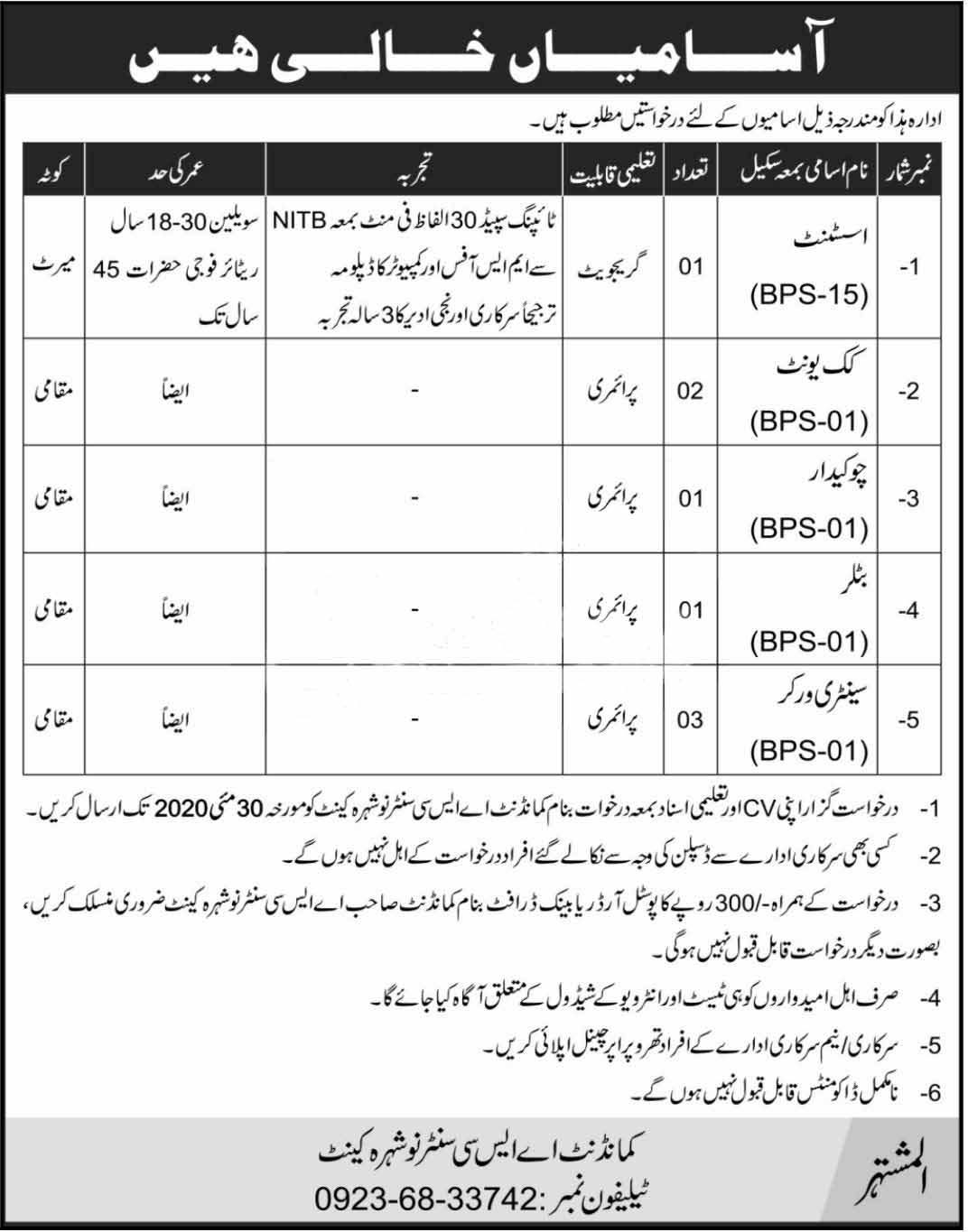 New Jobs in Army Service Corps ASC Centre Nowshera Cantt  May 2020