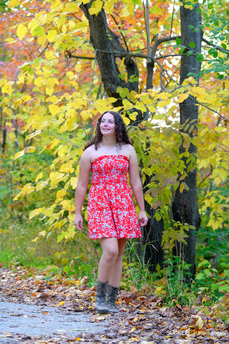 Pioneer High School Girls Senior Portrait in Nature Woods Fall Colors by SudeepStudio.com Ann Arbor Senior Pictures Photographer