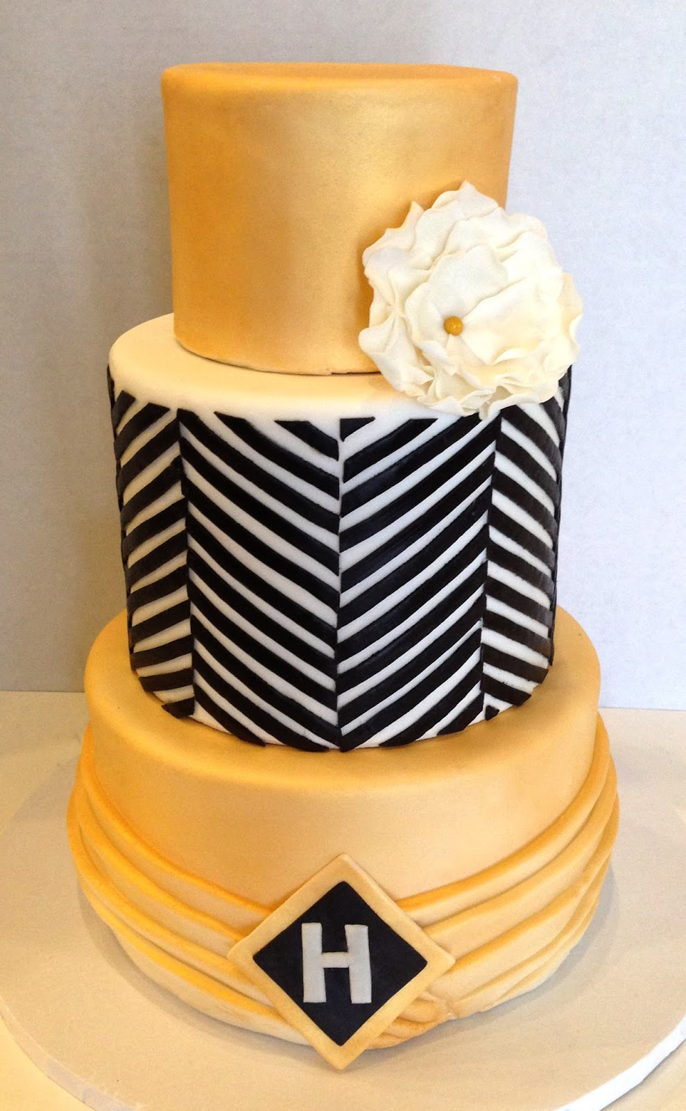 Black Pink And Gold Cake