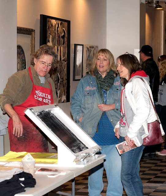 Talking directly to artists about their processes at Get Behind The Arts 2017. Photo credit Barb Thompson Photography.