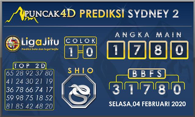 PREDIKSI TOGEL SYDNEY2 PUNCAK4D 04 FEBRUARI 2020