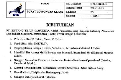 Loker Surabaya Terbaru di PT. Bintang Timur Samudera November 2019