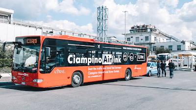 Autocarro + Comboio do Terminal Roma Cimpiano até Roma Termini com o Ciampino Airlink
