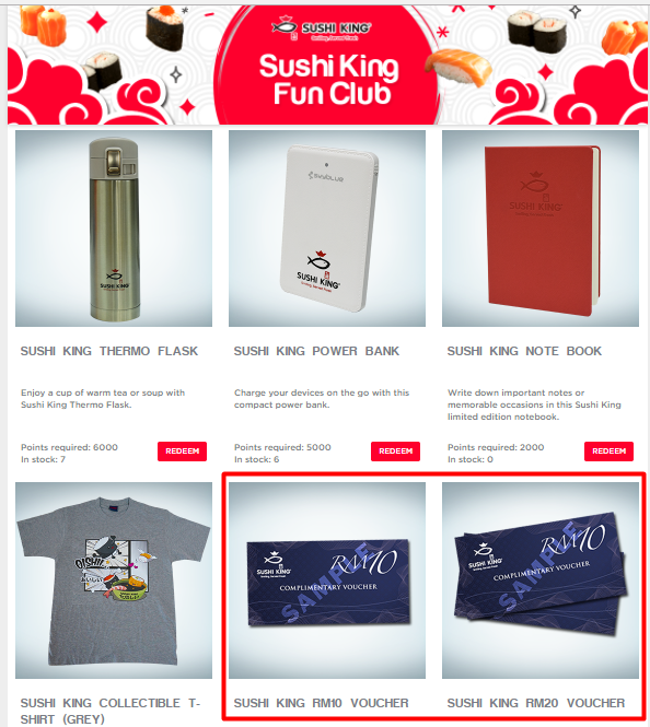 Jom Rebut Hadiah & Vaucher Dari Sushi King Fun Club
