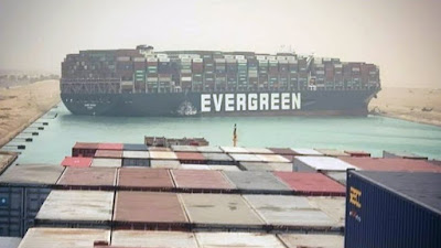 Evergreen container ship stuck on Suez Canal.