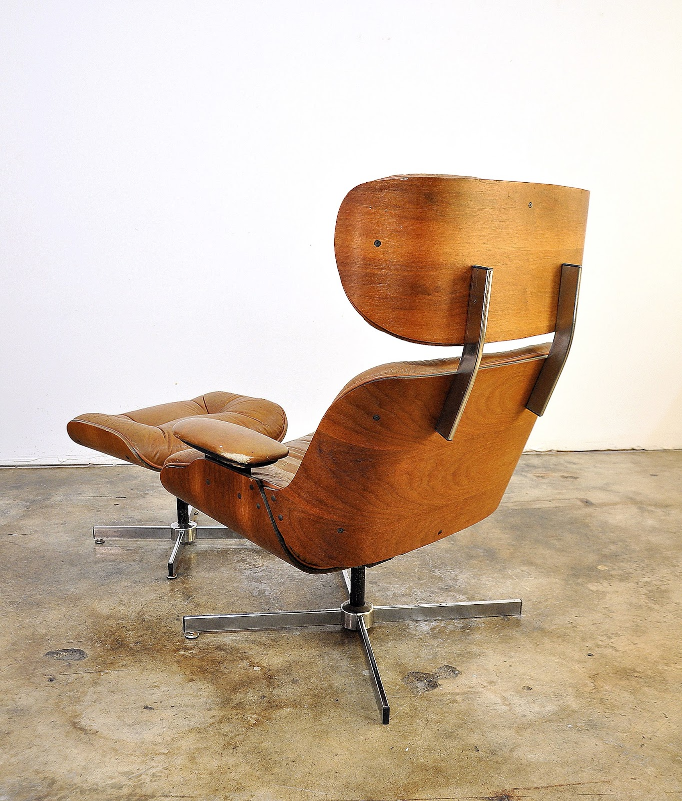 Select modern frank doerner for selig eames style butterscotch lounge chair ottoman - Selig eames chair ...