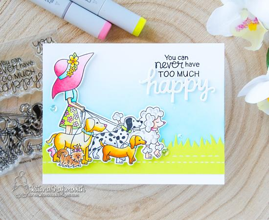 Happy Dog Walker Card by Tatiana Trafimovich | Walking Woofs Stamp Set and Land Borders Die Set by Newton's Nook Designs #newtonsnook #handmade