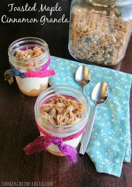 jars of maple cinnamon granola and yogurt