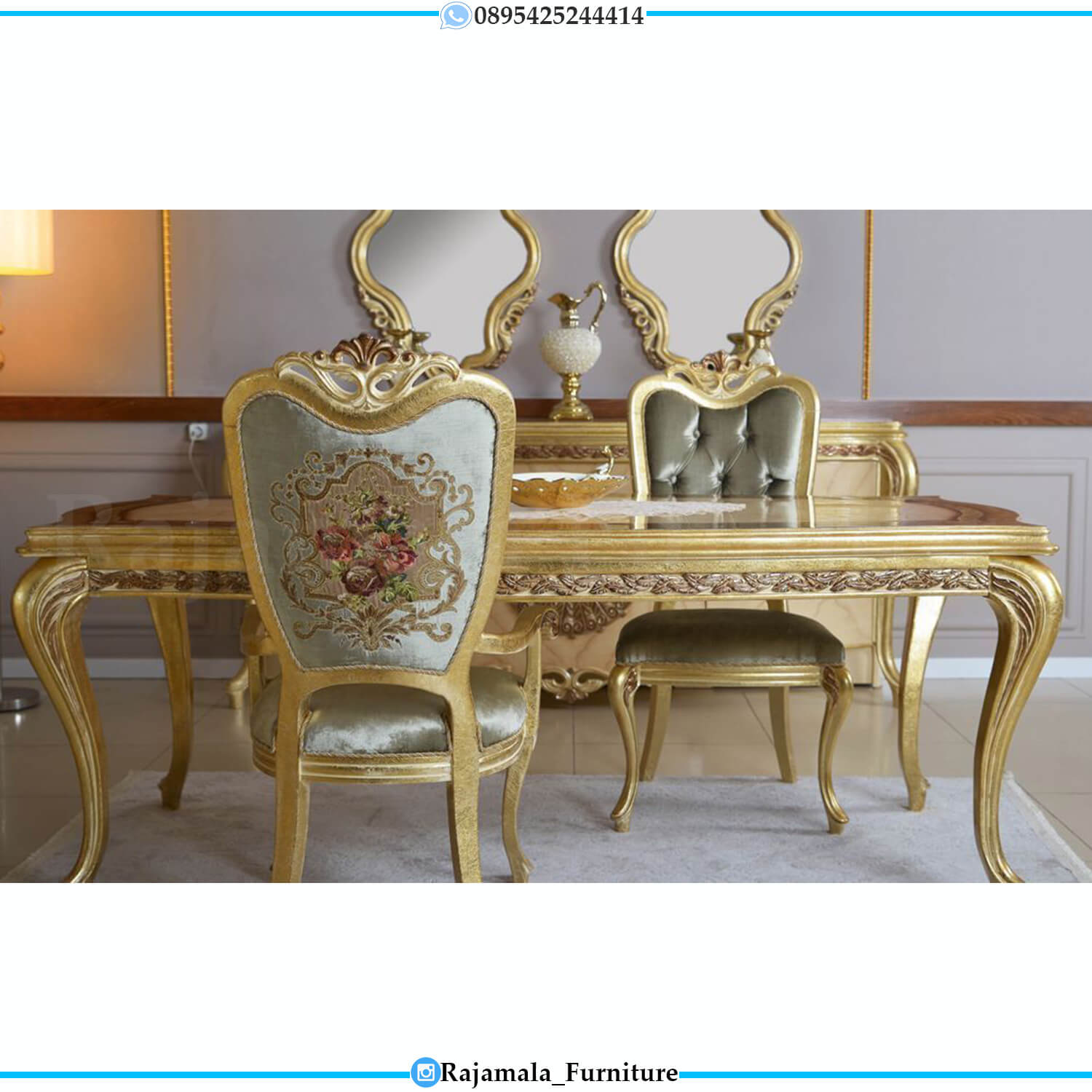 New Set Meja Makan Mewah Luxury Golden Leaf Classic Color Furniture Jepara RM-0463