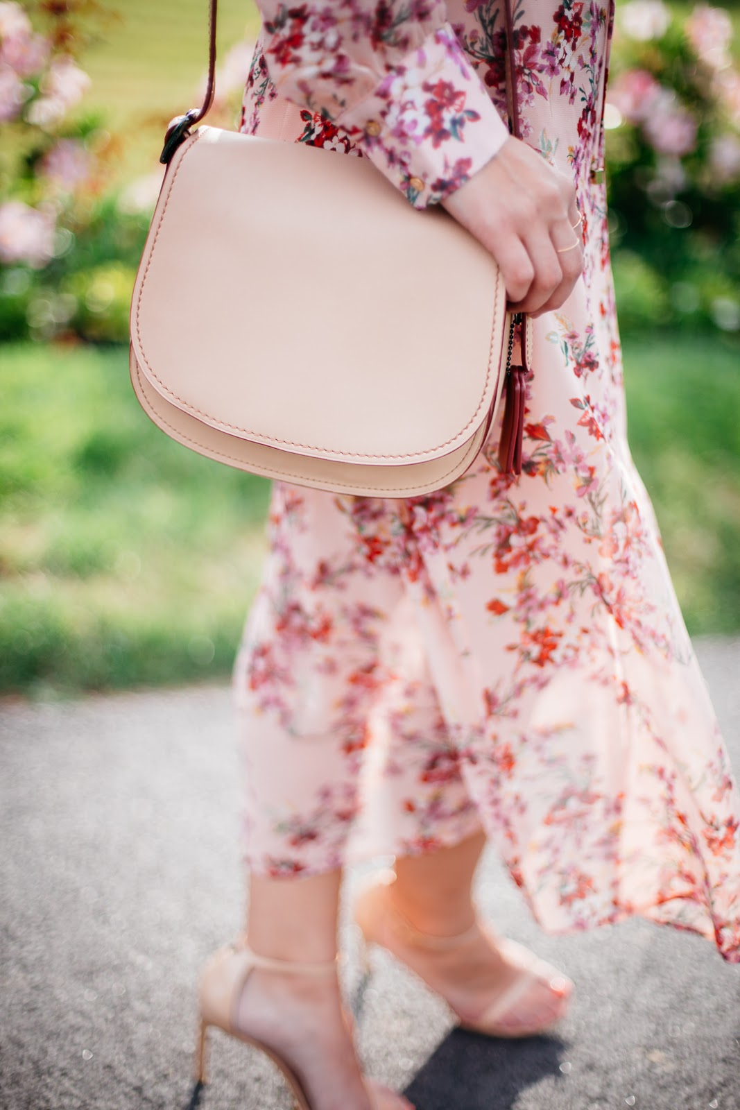 Bold and beautiful I'm pairing this floral midi dress from WAYF with neutral accessories so it can do ALL the talking