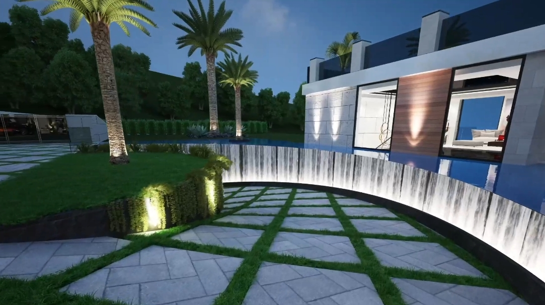 44 Interior Design Photos vs. 1047 N Bundy Dr, Los Angeles Ultra Luxury Mansion Rendering Tour