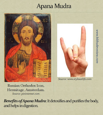 Orthodox Icon of Jesus doing the Apana Mudra