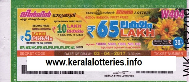 Official Kerala Lottery Result of  Win Win_W-408 on 01 may 2017