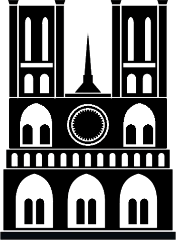 Notre Dame Cathedral in Paris, France coloring page clipart clip art silhouette freebie
