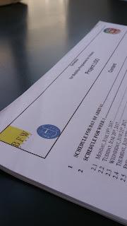 Fotografia do documento original com o plano de trabalho para as duas semanas da visita