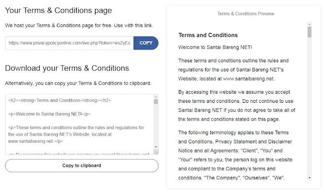 Cara Mudah dan Cepat Membuat Terms of Service (TOS) di Blog