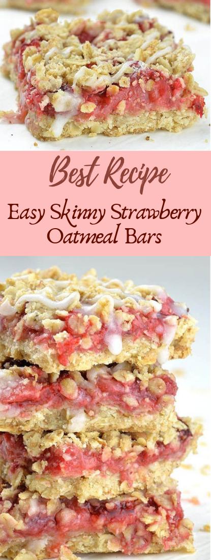 Easy Skinny Strawberry Oatmeal Bars #desserts #cakerecipe