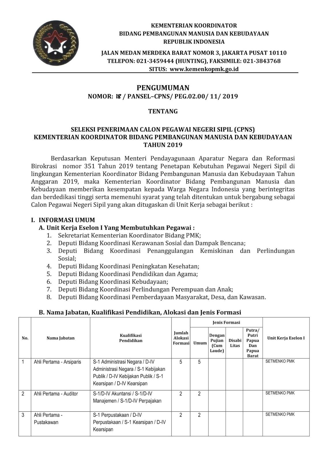 Lowongan CPNS KEMENKO PMK (Kementerian Koordinator Bidang Pembangunan Manusia dan Kebudayaan) Tahun Anggaran 2019 [77 Formasi]