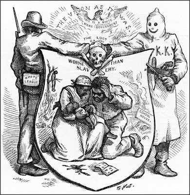 """The """"union"""" refers to a band of young men, the White League, and the KKK, that terrorized and were the governing power in Texas, Alabama, Georgia and Kentucky."""