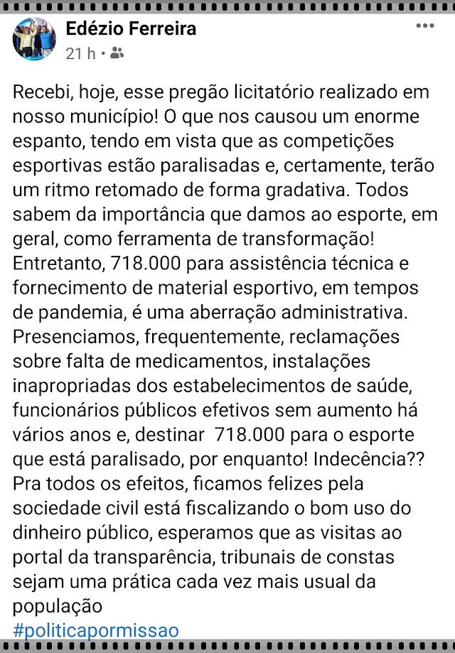 FORNECIMENTO DE MATERIAL ESPORTIVO EM TEMPOS DE PANDEMIA É ABERRAÇÃO, SENTENCIA DOUTOR EDÉZIO FERREIRA