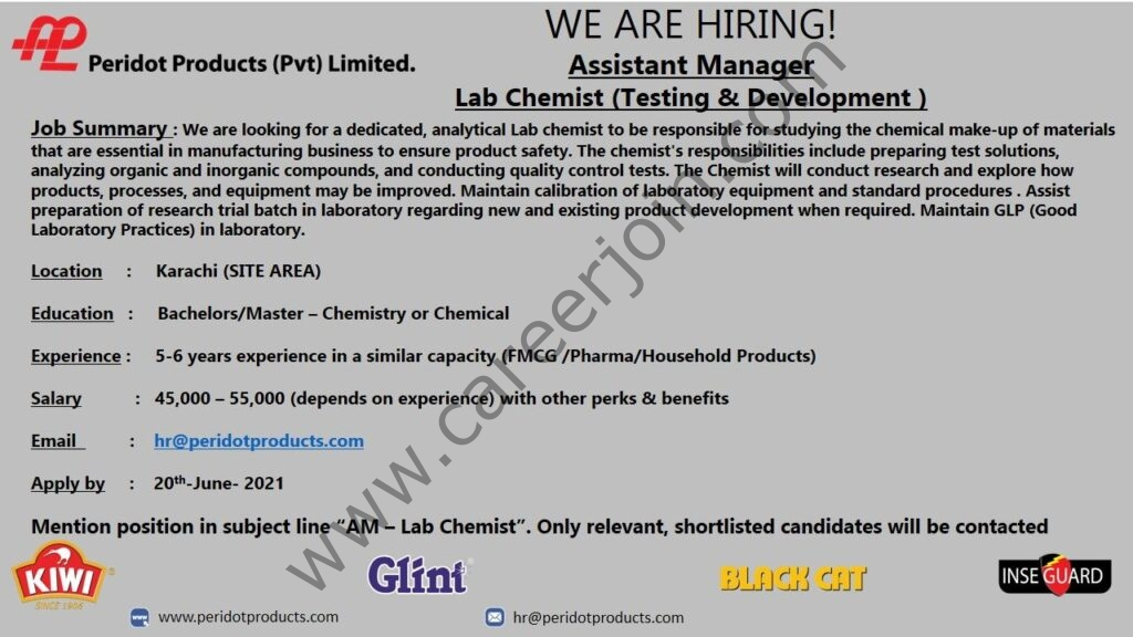 Peridot Products Pvt Ltd Jobs 2021 in Pakistan