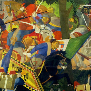 A detail from Cagli's 1936 painting, The Battle of San Martino, the final battle of the Second Italian War of Independence