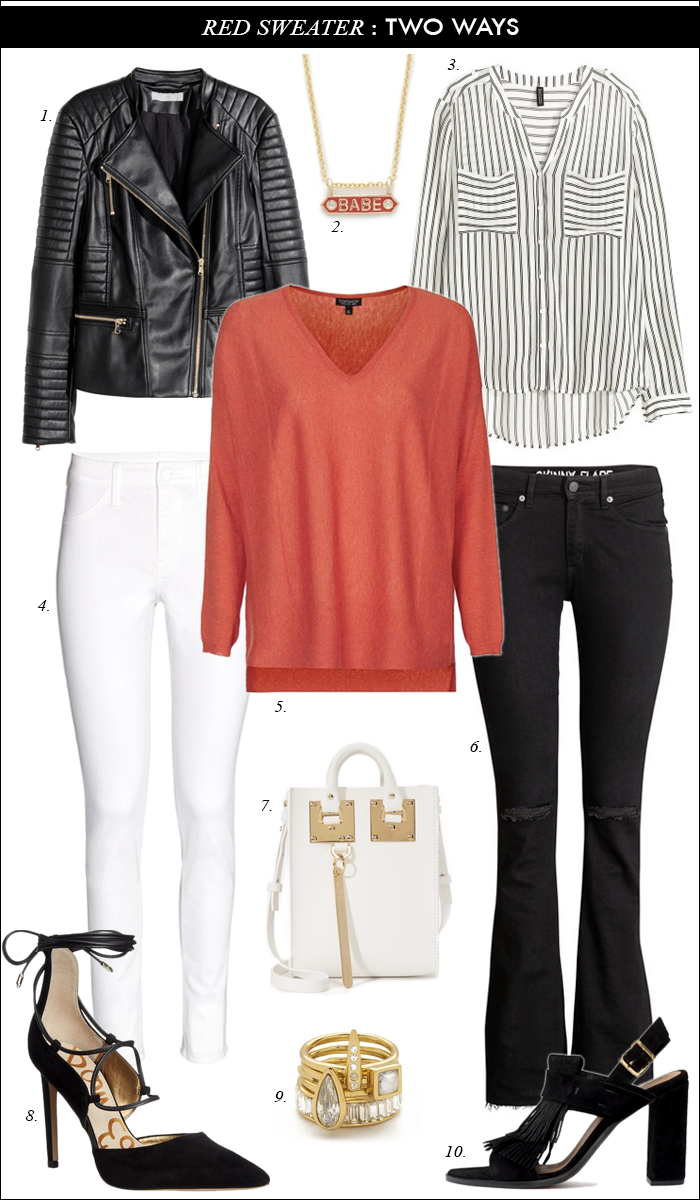 leather jacket under $60, red topshop sweater, striped blouse, distressed flare jeans, white jeans under $10