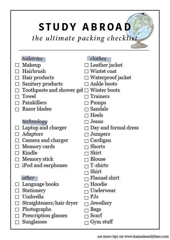 overseas packing list