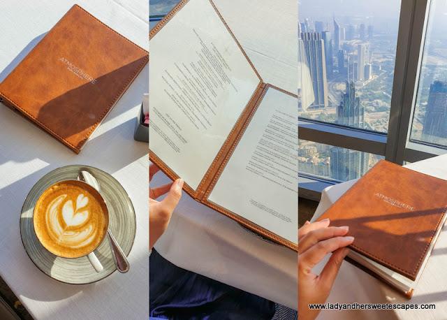 Breakfast menu in Atmosphere Burj Khalifa