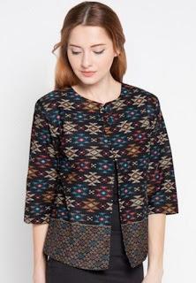 Model baju batik kombinasi songket