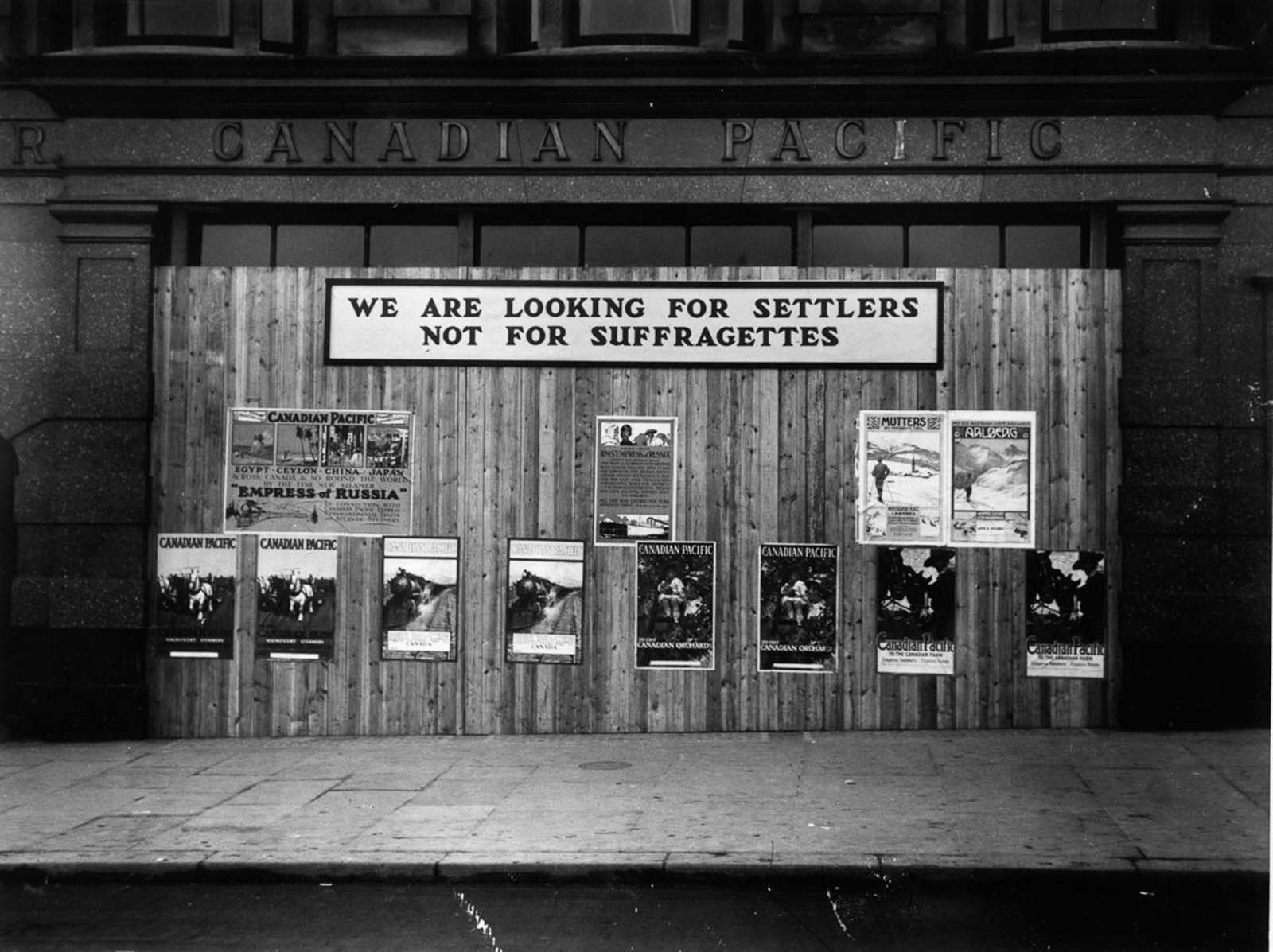 An anti-suffrage sign posted by the Canadian Pacific Railway Company in London. 1913.