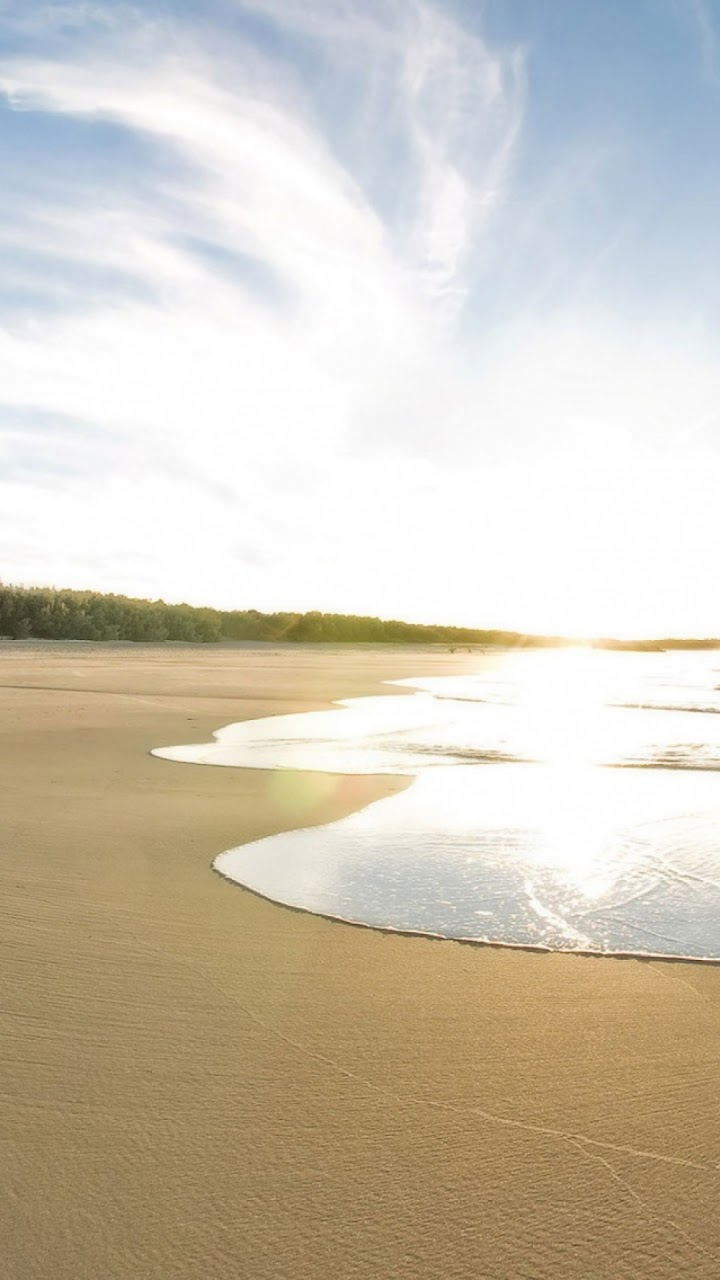 Galaxy Note Hd Wallpapers Golden Beach Waves Sun Reflection