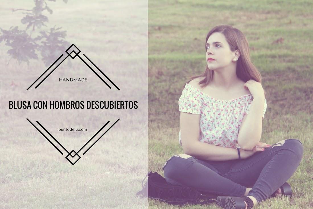 Blusa hombros descubiertos y estampado de flamencos Punto de Lu