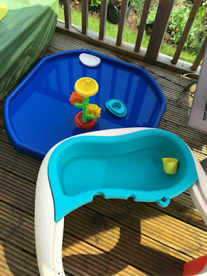 tuff tray and water table with clean water and no toddler in sight