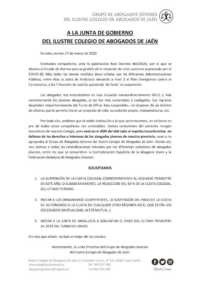 Solicitud de adopción de medidas económicas ante la crisis del Covid-19