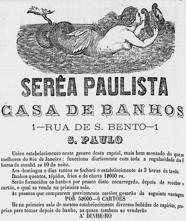 Propaganda antiga de casa de banhos da capital paulista veiculada em 1865