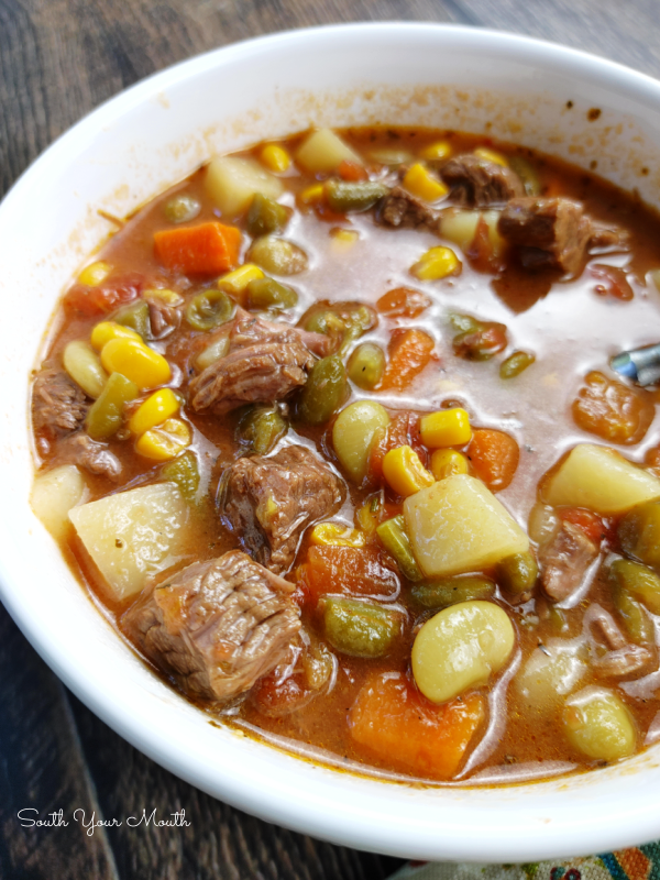 Classic Vegetable Beef Soup - A tried-and-true recipe with tender chunks of beef in a thick, savory stock and all your favorite vegetables.