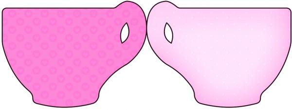 Tarjeta con forma de taza de Corazones Rosa.