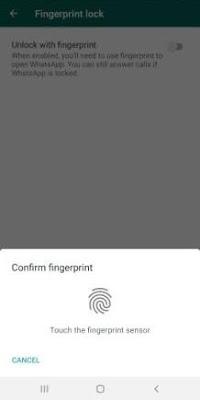 Whatapp Fingerprint Setting
