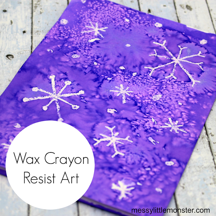 wax crayon resist snowflake art for kids