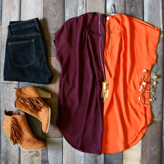 orange and burgundy colour combo