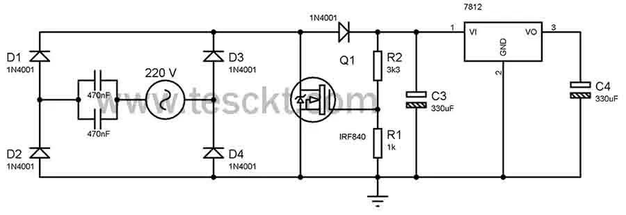 transformerless power supply 230v AC to 12v and 5-volt dc