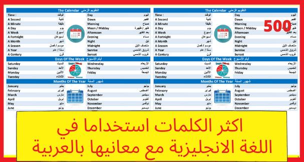 اكثر الكلمات استخداما في اللغة الإنجليزية مع معانيها بالعربية للتحميل