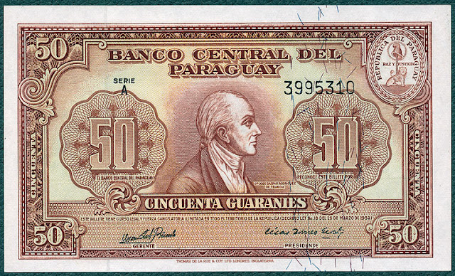 World paper money Currency Paraguay Guarani banknote cash